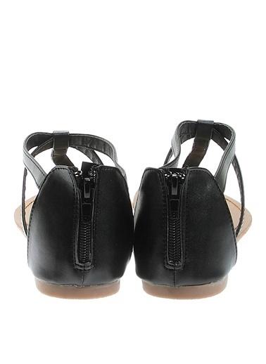 Ves Ves Deri Siyah Sandalet Siyah